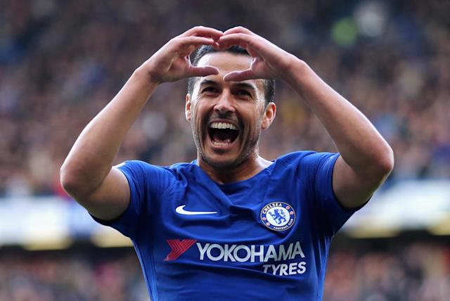 <em><strong>Pedro celebrates his goal that put Chelsea 1-0 up</strong></em>