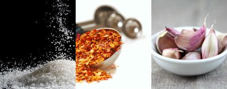 A pinch of chilli flakes <br />1tsp minced garlic or 2-3 garlic cloves, crushed <br />1/4 tsp sugar<strong> <br /></strong>