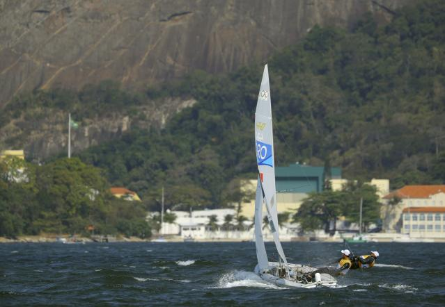2016 Rio Olympics - Sailing - Final - Men's Two Person Dinghy - 470 - Medal Race - Marina de Gloria-Rio de Janeiro, Brazil - 18/08/2016. Sime Fantela (CRO) of Croatia and Igor Marenic (CRO) of Croatia compete. REUTERS/Brian Snyder FOR EDITORIAL USE ONLY. NOT FOR SALE FOR MARKETING OR ADVERTISING CAMPAIGNS.