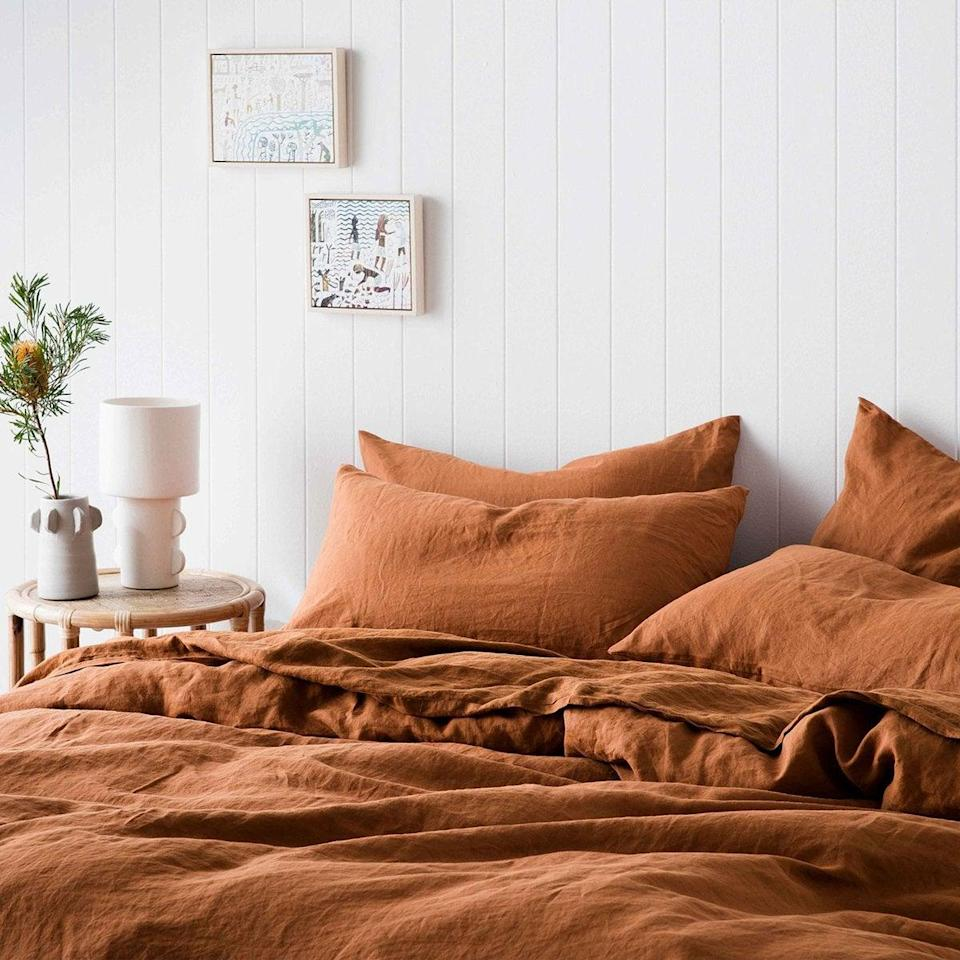 "<h3>Cultiver</h3><br><strong>Deal: $40 off first orders</strong><br><strong>Code: Provided with email signup</strong><br><br>This luxe bedding brand thoughtfully sources and crafts its 100%-natural, European-flax linen pieces (including sheets, loungewear, duvet covers, pillowcases, throws, robes, and much more) through ethical and sustainable practices from sourcing to packaging and even delivery.<br><br><em>Shop <strong><a href=""https://cultiver.com/"" rel=""nofollow noopener"" target=""_blank"" data-ylk=""slk:Cultiver"" class=""link rapid-noclick-resp"">Cultiver</a></strong></em><br><br><strong>Cultiver</strong> Linen Duvet Cover Set - Cedar, $, available at <a href=""https://go.skimresources.com/?id=30283X879131&url=https%3A%2F%2Fcultiver.com%2Fproducts%2Flinen-duvet-cover-set-cedar"" rel=""nofollow noopener"" target=""_blank"" data-ylk=""slk:Cultiver"" class=""link rapid-noclick-resp"">Cultiver</a>"