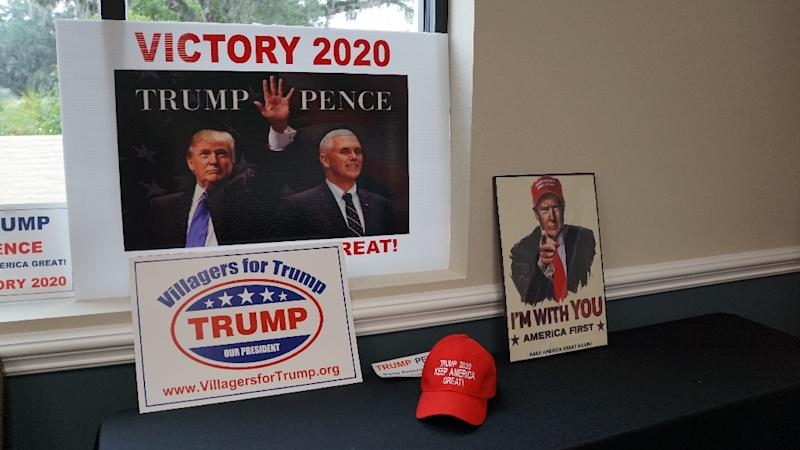 Pro-Trump merchandise adorns the recreation center in The Villages, Florida, where leaders of local Republican clubs meet to organize and support the re-election of President Donald Trump (AFP Photo/Leila MACOR)