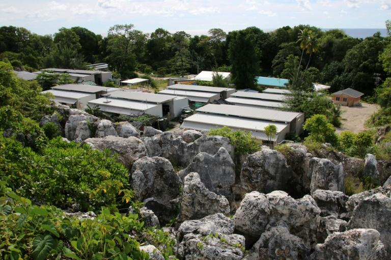 A view of the cluster of corrugated iron huts that make up Australia's Camp Four for refugees on the Pacific island of Nauru