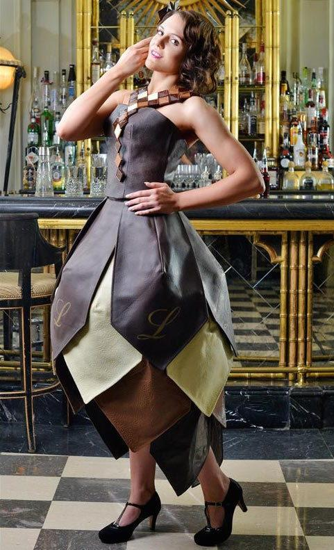 """<p>""""Downton Abbey"""" costume designer Caroline McCall created this 1920s-esque dress in celebration of the UK's annual Chocolate Week in October, 2014. <a href=""""http://greatideas.people.com/2014/10/14/chocolate-dress-downton-abbey/"""" rel=""""nofollow noopener"""" target=""""_blank"""" data-ylk=""""slk:Constructed entirely of Lindt chocolate"""" class=""""link rapid-noclick-resp"""">Constructed entirely of Lindt chocolate</a>, the playful frock took three months to construct and weighed in at 132 pounds. Good thing London's weather generally stays on the cooler side!</p>"""