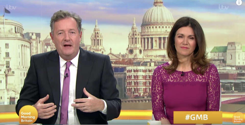 Piers Morgan hosting Good Morning Britain with Susanna Reid. (ITV)