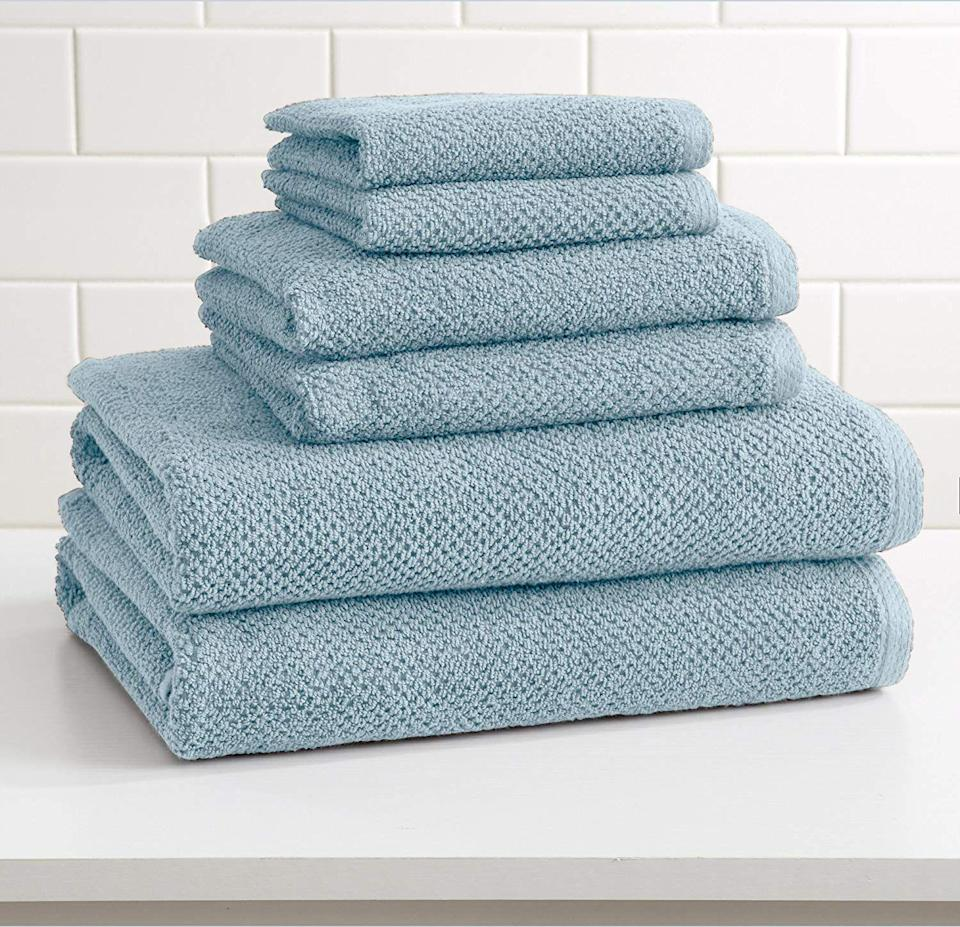 """<h2>Towels<br></h2><br><h3>Great Bay Home 100% Cotton Towel Set </h3><br>Towels are an essential in any home. Instead of going with a mismatched jumble of past-their-prime rags from your college days, invest in a matching set that gives you the biggest bang for your buck — and decor style.<br><br><em>Shop <a href=""""https://amzn.to/3Fae3fe"""" rel=""""nofollow noopener"""" target=""""_blank"""" data-ylk=""""slk:Amazon"""" class=""""link rapid-noclick-resp""""><strong>Amazon</strong></a></em><br><br><strong>Great Bay Home</strong> 6-Piece 100% Cotton Towel Set, $, available at <a href=""""https://amzn.to/2ZDSK5l"""" rel=""""nofollow noopener"""" target=""""_blank"""" data-ylk=""""slk:Amazon"""" class=""""link rapid-noclick-resp"""">Amazon</a>"""