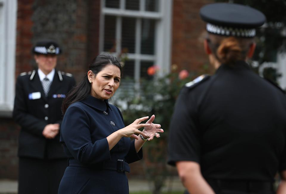 Home Secretary Priti Patel meets new recruits during a visit to Sussex Police Headquarters in Lewes, East Sussex. (Photo by Gareth Fuller/PA Images via Getty Images)