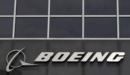 FILE PHOTO -  Boeing logo at their headquarters in Chicago