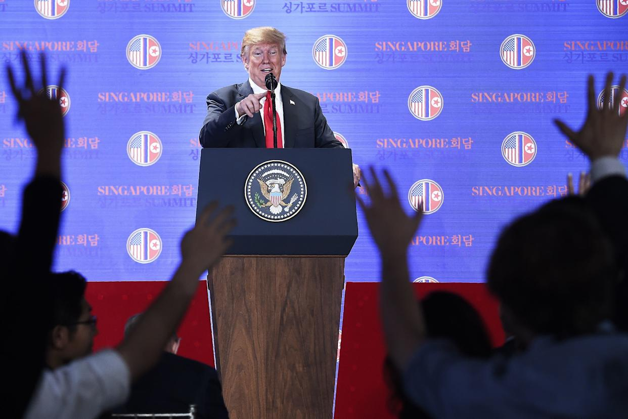 Trump speaks at a press conference following the historic summit.