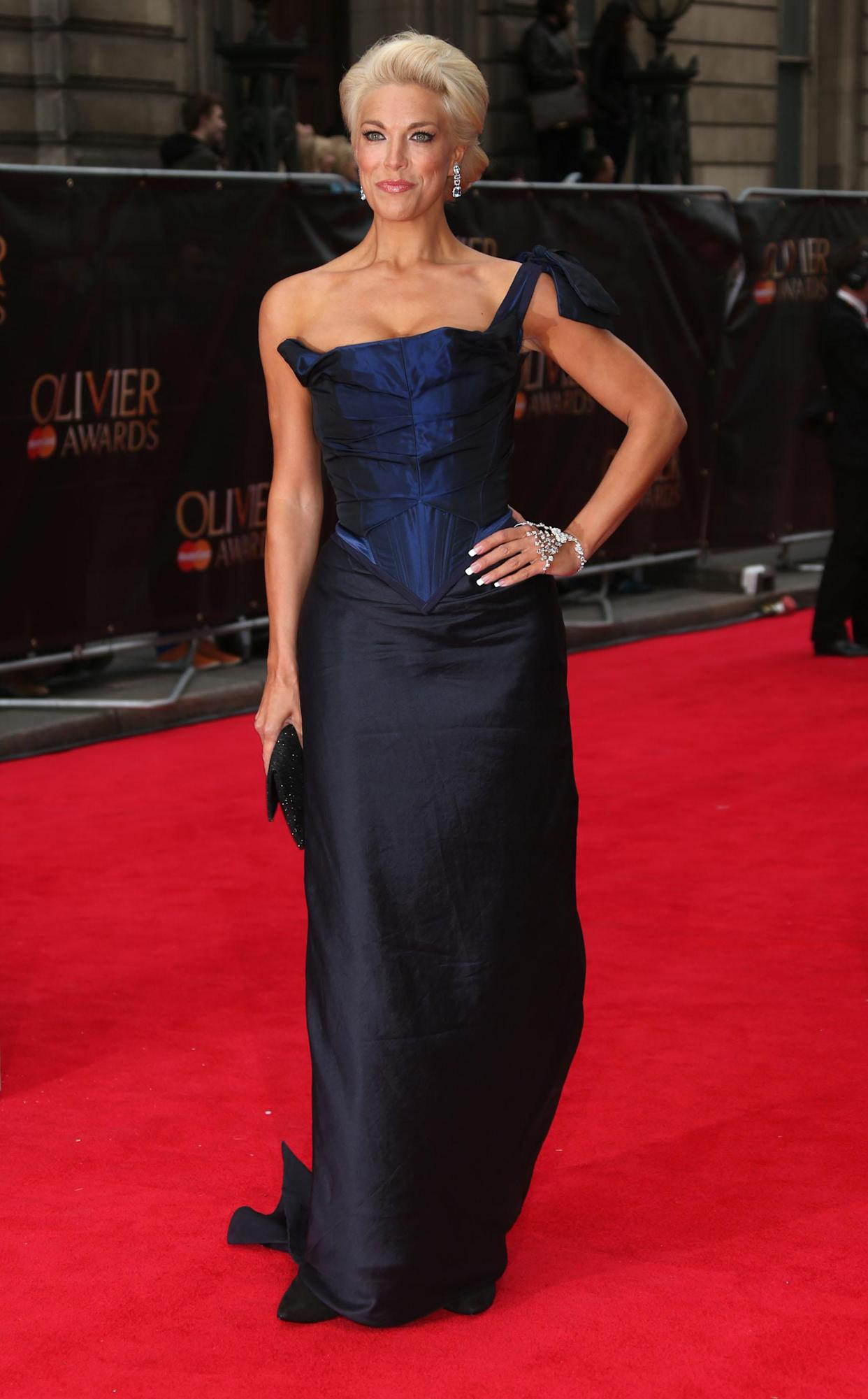 Hannah Waddingham  seen at the Olivier Awards 2013 at the Royal opera House in London on Sunday, April 28th, 2013. Photo by Joel Ryan/Invision/AP