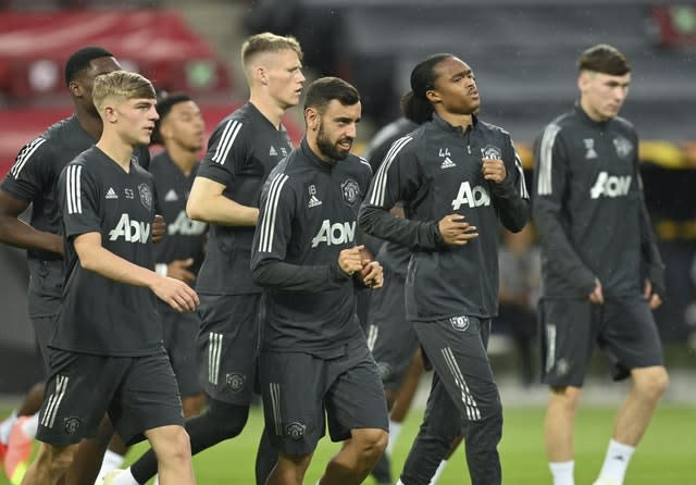 Manchester United players train ahead of the match with Copenhagen