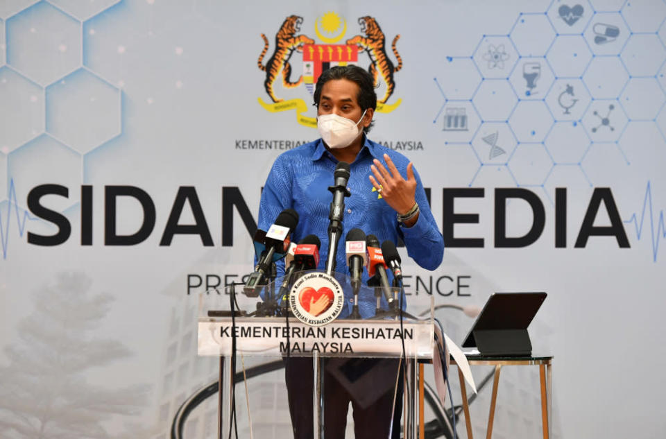 Health Minister Khairy Jamaluddin said 1,310 patients are currently warded in Intensive Care Units (ICU) nationwide, comprising of 967 patients who are confirmed Covid-19 positive and 343 suspected cases or those that have yet to be established. — Bernama pic