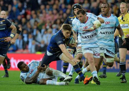 Rugby Union - European Champions Cup Final - Leinster Rugby v Racing 92 - San Mames, Bilbao, Spain - May 12, 2018 Racing 92's Virimi Vakatawa in action with Leinster Rugby's Garry Ringrose REUTERS/Vincent West