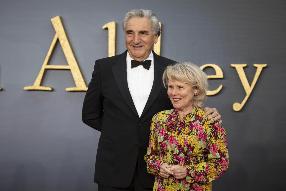 Jim Carter and Imelda Staunton pose for photographers upon arrival at the world premiere of the film 'Downton Abbey' in London, Monday, Sept. 9, 2019. (Photo by Vianney Le Caer/Invision/AP)