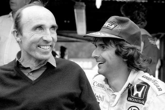 Nelson Piquet, pictured with Williams founder Frank Williams, won three world titles
