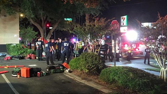 <p>A handout photograph made available by Univision Florida Central showing a view of the general scene of a shooting at Pulse Nightclub in Orlando, Florida, June 12, 2016. Orlando Police state there are multiple injuries with reports stating that the attacker is still inside the club and has taken hostages. (EPA/UNIVISION FLORIDA CENTRAL) </p>