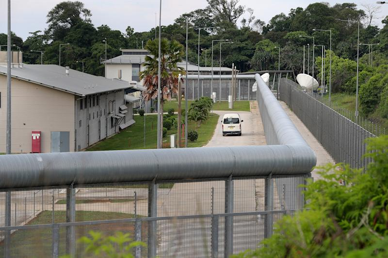 A white van drives inside the detention centre on Tuesday. Source: AAP