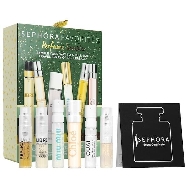 """<p>Year after year, <a href=""""https://www.popsugar.com/beauty/sephora-collection-holiday-sets-2020-47760819"""" class=""""link rapid-noclick-resp"""" rel=""""nofollow noopener"""" target=""""_blank"""" data-ylk=""""slk:special holiday kits"""">special holiday kits</a> are popular, and 2020's <span>Sephora Favorites Mini Holiday Perfume Travel Set</span> ($25) - featuring Chloé, Ouai, YSL, and more - is no exception. (Plus, the lucky recipient can use an included voucher to get a larger bottle of their favorite for free as well.)</p>"""