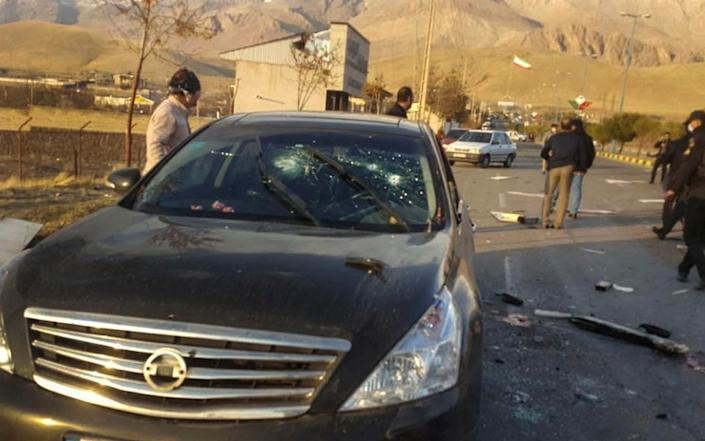 This photo released by the semi-official Fars News Agency shows the scene where Mohsen Fakhrizadeh was killed - AP