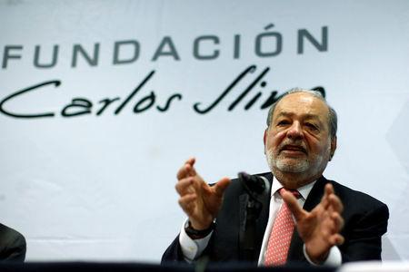 Mexican billionaire Carlos Slim talks during a news conference to discuss his foundation's work in supporting efforts at rebuilding areas damaged by the massive earthquake on Sept. 19. in Mexico City, Mexico October 10, 2017. REUTERS/Carlos Jasso