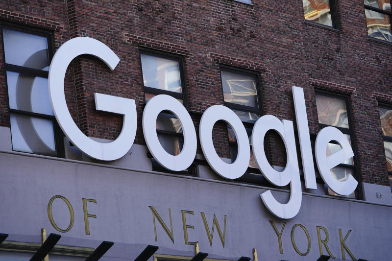 Photo by: John Nacion/STAR MAX/IPx 2020 5/13/20 A view of Grow with Google logo as seen from Chelsea office during the coronavirus pandemic on May 13, 2020 in New York City. COVID-19 has spread to most countries around the world, claiming over 270,000 lives with over 3.9 million infections reported.