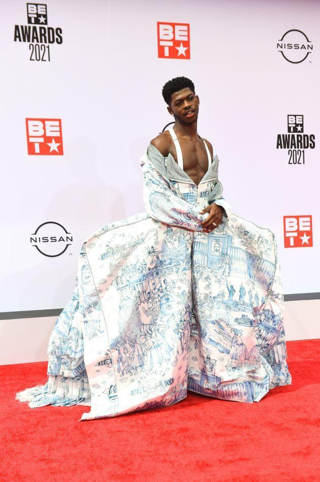 Lil Nas X on the red carpet at the 2021 BET Awards. (Photo: Aaron J. Thornton via Getty Images)