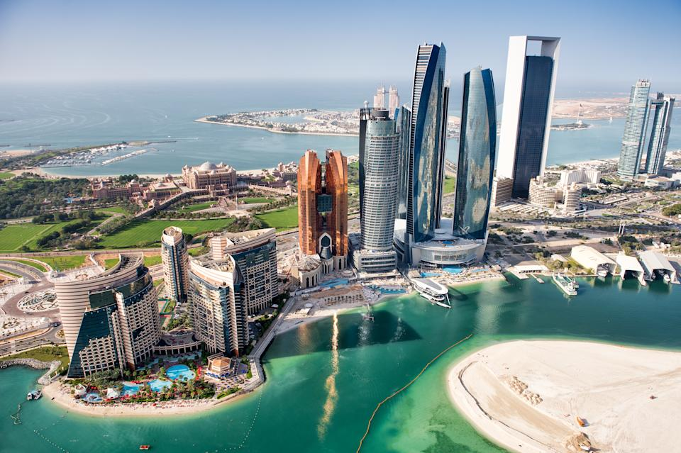 Famous buildings in Abu Dhabi, United Arab Emirates viewed from above. (Photo: Getty Images)