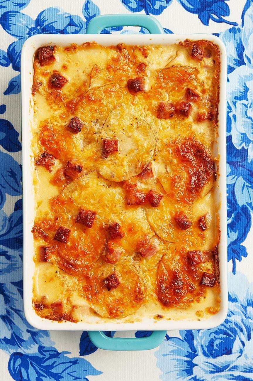 """<p>Small, yellow potatoes like Yukon Gold are perfect for this casserole side dish—they're tender, moist, and hold up well when baked. </p><p><a href=""""https://www.thepioneerwoman.com/food-cooking/recipes/a10593/scalloped-potatoes-and-ham/"""" rel=""""nofollow noopener"""" target=""""_blank"""" data-ylk=""""slk:Get Ree's recipe."""" class=""""link rapid-noclick-resp""""><strong>Get Ree's recipe.</strong></a></p>"""