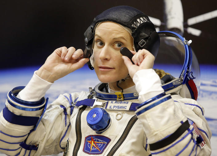 <p>U.S. astronaut Kate Rubins, member of the main crew of the expedition to the International Space Station (ISS), gestures prior the launch of Soyuz MS space ship at the Russian leased Baikonur cosmodrome, Kazakhstan, Thursday, July 7, 2016. (AP Photo/Dmitri Lovetsky) </p>