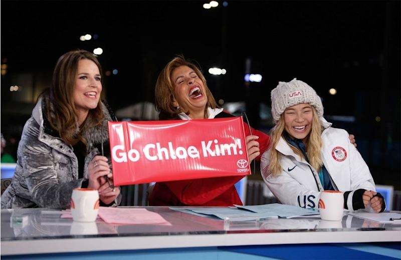From left: <em>Today </em>show co-anchors Savannah Guthrie and Hoda Kotb with snowboarder Chloe Kim, on set during Tuesday's broadcast from Pyeongchang, South Korea