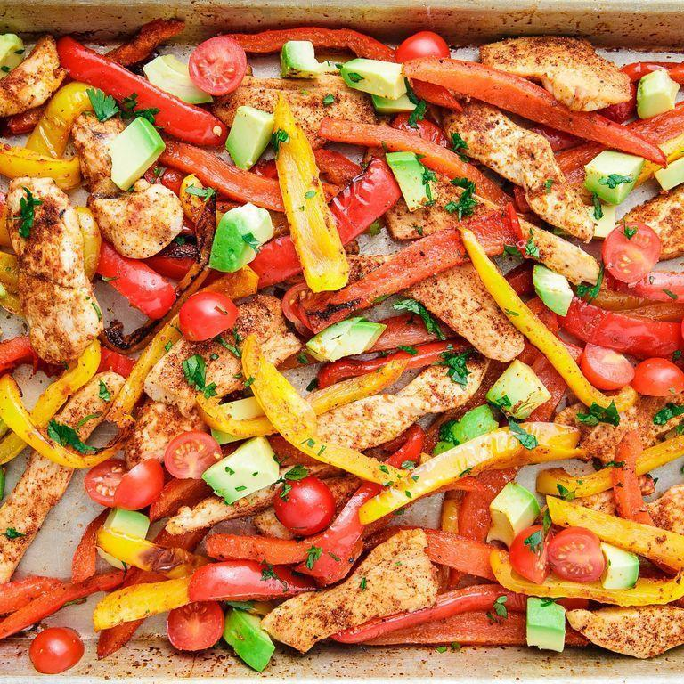 "<p>Serve this spicy chicken and pepper bake with tortillas and your favorite taco toppings – we're partial to sour cream and salsa.</p><p><em><a href=""https://www.delish.com/cooking/recipe-ideas/a25564755/sheet-pan-chicken-fajitas-recipe/"" rel=""nofollow noopener"" target=""_blank"" data-ylk=""slk:Get the recipe from Delish »"" class=""link rapid-noclick-resp"">Get the recipe from Delish »</a></em></p>"