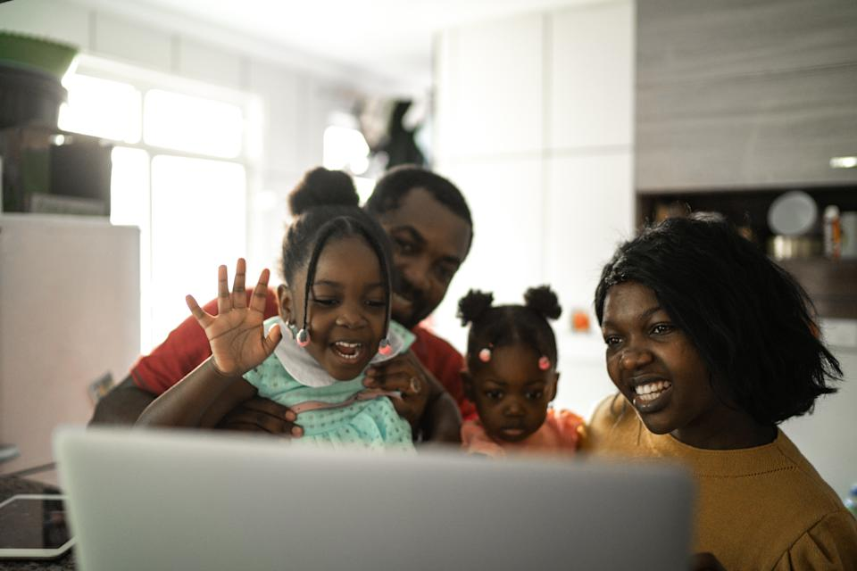Happiness family doing video call at home