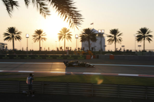 Haas driver Romain Grosjean of France steers his car during the first free practice at the Yas Marina racetrack in Abu Dhabi, United Arab Emirates, Friday, Nov. 29, 2019. The Emirates Formula One Grand Prix will take place on Sunday. (AP Photo/Kamran Jebreili)