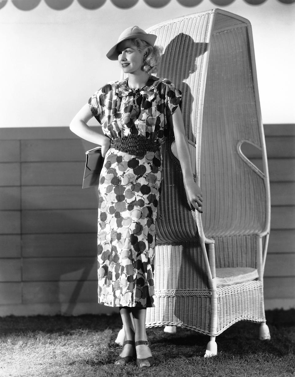 Ball poses in a printed dress in Hollywood, 1936.