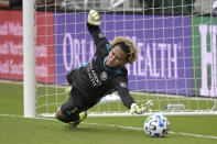 Orlando City goalkeeper Pedro Gallese is unable to make a save on penalty kick New York City FC midfielder Tony Rocha during a shootout in an MLS soccer playoff match, Saturday, Nov. 21, 2020, in Orlando, Fla. (AP Photo/Phelan M. Ebenhack)