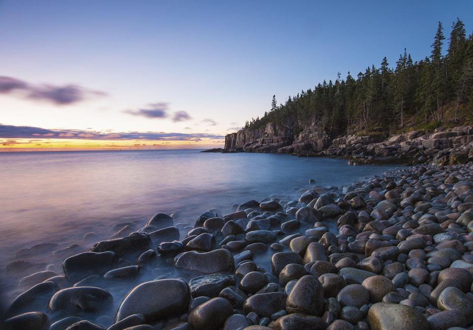 """<p><a href=""""https://www.nps.gov/acad/index.htm"""" rel=""""nofollow noopener"""" target=""""_blank"""" data-ylk=""""slk:Acadia National Park"""" class=""""link rapid-noclick-resp""""><strong>Acadia National Park </strong></a></p><p>Maine's rocky coastline puts on a show in Bar Harbor at this national park. Greet the sunrise from on top of Cadillac Mountain, walk along the stone-filled beaches, listen to the ocean at Thunder Hole or spend a day hiking one of the 158 miles of trails. </p>"""