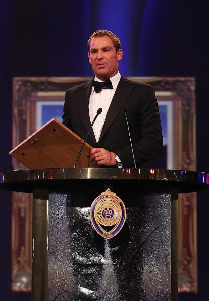 MELBOURNE, AUSTRALIA - FEBRUARY 27:  Shane Warne of Australia speaks after being inducted into the Australian Cricket Hall of Fame during the 2012 Allan Border Medal Awards at Crown Palladium on February 27, 2012 in Melbourne, Australia.  (Photo by Scott Barbour/Getty Images)