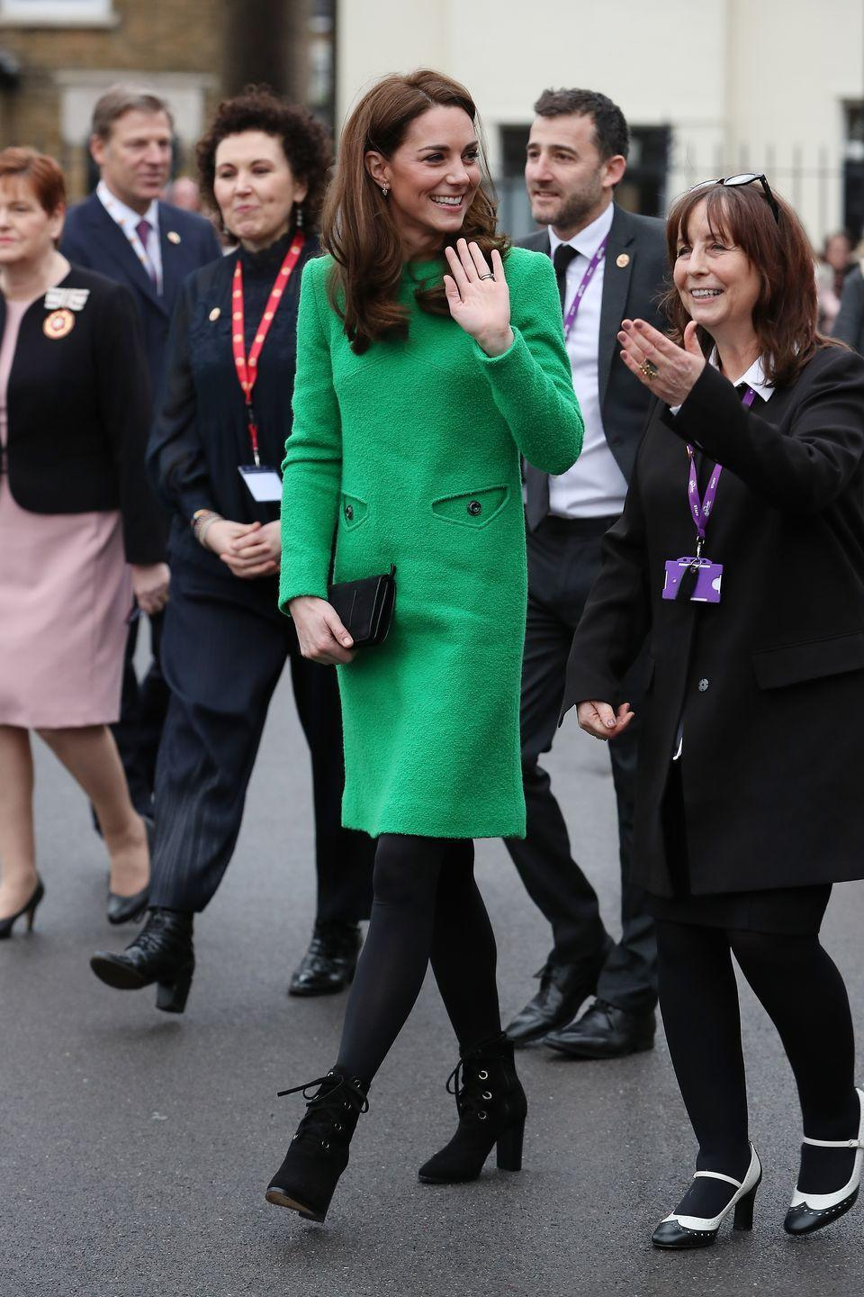 "<p>Kate Middleton stepped out in a retro-looking green smock dress by <a href=""http://www.eponinelondon.com/"" rel=""nofollow noopener"" target=""_blank"" data-ylk=""slk:Eponine"" class=""link rapid-noclick-resp"">Eponine</a> for a visit to Lavender Primary School in London. The Duchess paired the look with black tights, a black clutch, suede ankle boots by <a href=""https://www.lkbennett.com/product/SAMARISSASUEDEBlackBlack~Marissa-Black-Suede-Ankle-Boots-Black"" rel=""nofollow noopener"" target=""_blank"" data-ylk=""slk:L.K. Bennett"" class=""link rapid-noclick-resp"">L.K. Bennett</a>, and gold drop earrings by <a href=""https://www.kiki.co.uk/product/lauren-yellow-gold-pave-diamond-leaf-earrings-2/"" rel=""nofollow noopener"" target=""_blank"" data-ylk=""slk:Kiki McDonough"" class=""link rapid-noclick-resp"">Kiki McDonough</a>. </p><p><a class=""link rapid-noclick-resp"" href=""https://go.redirectingat.com?id=74968X1596630&url=https%3A%2F%2Fwww.lkbennett.com%2Fproduct%2FSAMARISSASUEDEBlackBlack%7EMarissa-Black-Suede-Ankle-Boots-Black&sref=https%3A%2F%2Fwww.townandcountrymag.com%2Fstyle%2Ffashion-trends%2Fnews%2Fg1633%2Fkate-middleton-fashion%2F"" rel=""nofollow noopener"" target=""_blank"" data-ylk=""slk:SHOP NOW""><strong>SHOP NOW</strong></a><em> Marissa Black Suede Ankle Boots, L.K. Bennett, $257</em><em><br></em></p><p><a class=""link rapid-noclick-resp"" href=""https://go.redirectingat.com?id=74968X1596630&url=https%3A%2F%2Fwww.kiki.co.uk%2Fproduct%2Flauren-yellow-gold-pave-diamond-leaf-earrings-2%2F&sref=https%3A%2F%2Fwww.townandcountrymag.com%2Fstyle%2Ffashion-trends%2Fnews%2Fg1633%2Fkate-middleton-fashion%2F"" rel=""nofollow noopener"" target=""_blank"" data-ylk=""slk:SHOP NOW""><strong>SHOP NOW </strong></a> <em>Lauren Pave Diamond Leaf Earrings in Yellow Gold, Kiki McDonough, $2,372</em></p>"