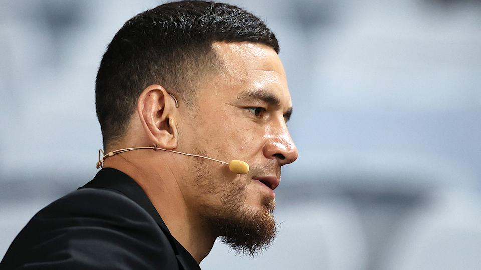Seen here, Sonny Bill Williams performing commentary duties for television.