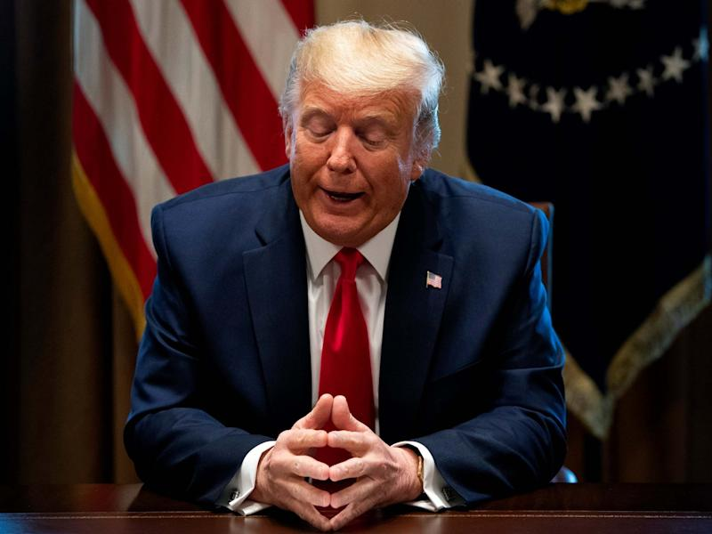 Donald Trump speaks to reporters as he holds a meeting with nurses on the Covid-19 response at the White House in Washington, DC, on 18 March 2020: Kevin Dietsch/EPA