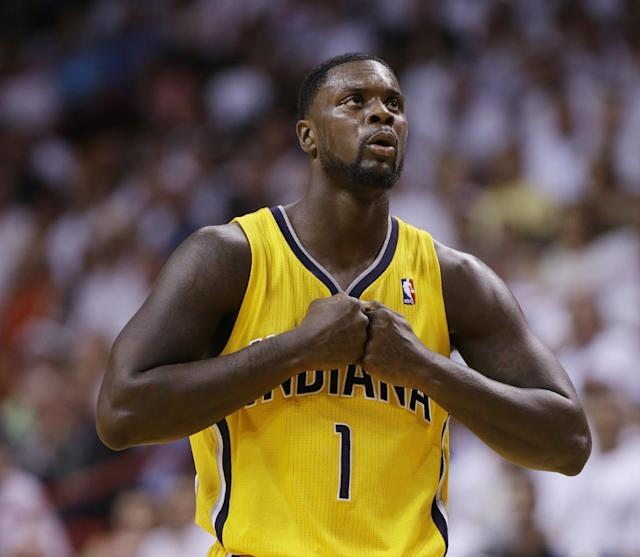 Indiana Pacers guard Lance Stephenson gestures during the second half of Game 3 in the NBA basketball Eastern Conference finals playoff series against the Miami Heat, Saturday, May 24, 2014, in Miami. (AP Photo/Lynne Sladky)