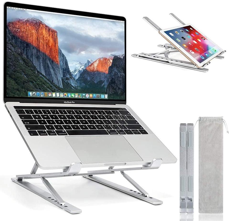 "<h2>Adjustable Laptop Stand</h2><br><br><strong>nomakk</strong> Laptop Stand, $, available at <a href=""https://amzn.to/372J326"" rel=""nofollow noopener"" target=""_blank"" data-ylk=""slk:Amazon"" class=""link rapid-noclick-resp"">Amazon</a>"