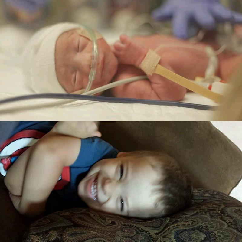Here are pictures of my youngest, Emmett. He was born right at 30 weeks, weighing 3.5 pounds. His lung collapsed shortly after birth, so he intubated and required a chest tube for a week or so. He was in the hospital for about two months. Now he's 3 years old, and there's nothing preemie about him anymore! He is quite the character and has such as infectious laugh!<br /><br /><i>-- Haley Lundsten</i>