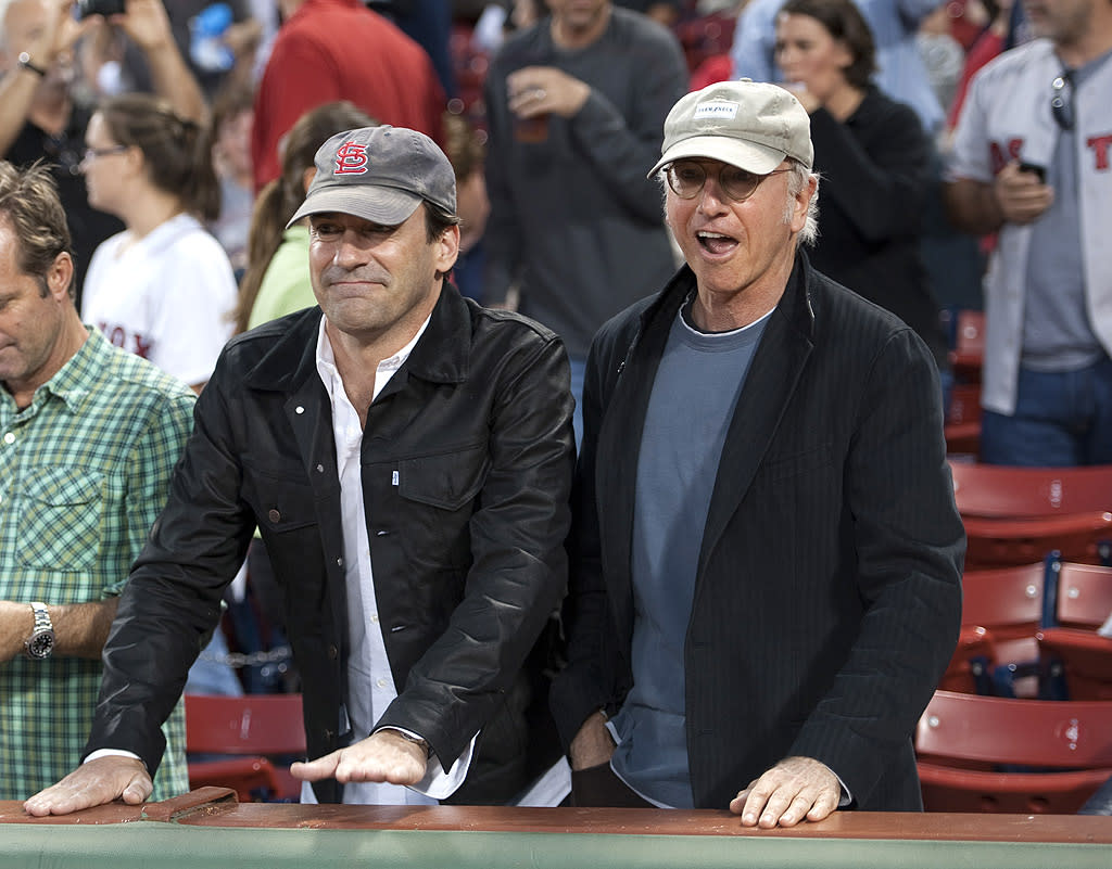 "<p class=""MsoNormal"">New pals Larry David and Jon Hamm took in a ball game at Boston's Fenway Park on Thursday, where David's favorite team, the New York Yankees, took on the hometown Boston Red Sox. The guys are starring together in the upcoming HBO movie ""Clear History,"" which stars David (who also wrote the screenplay) as a former executive who tries to get revenge on an ex-boss. The movie also features Kate Hudson, Michael Keaton, and Eva Mendes. Sounds prettaaaay, prettaaaay good. (9/14/2012)</p>"