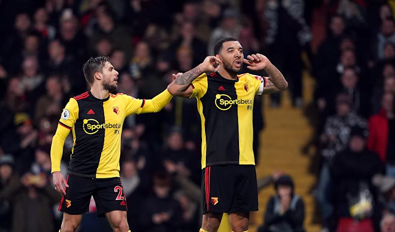 Watford's Troy Deeney (right) celebrates scoring his side's first goal of the game with Kiko Femenia during the Premier League match at Vicarage Road, Watford. (Photo by Tess Derry/PA Images via Getty Images)