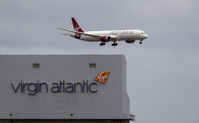A Virgin Atlantic plane coming in to land at Heathrow Airport. (Steve Parsons/PA via Getty)