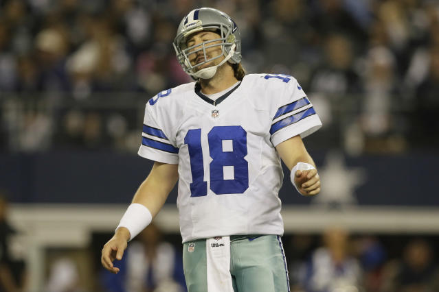 Dallas Cowboys quarterback Kyle Orton (18) reacts after throwing a pass for a loss of yards against the Philadelphia Eagles during the second half of an NFL football game, Sunday, Dec. 29, 2013, in Arlington, Texas. (AP Photo/Tony Gutierrez)