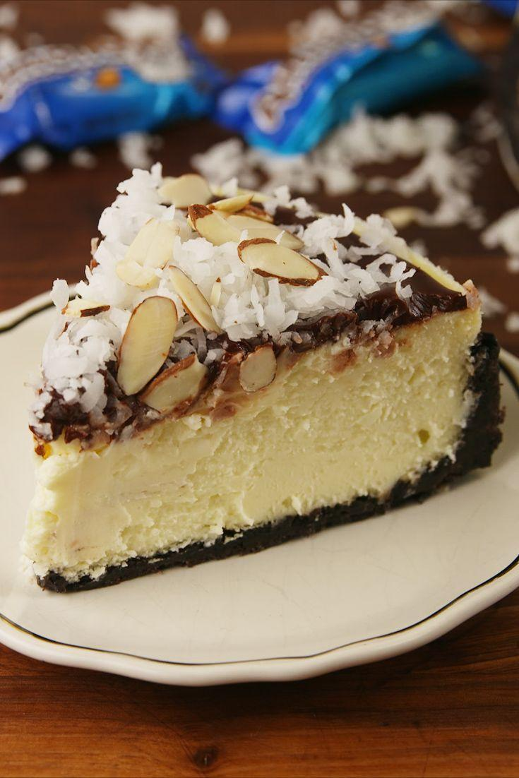 """<p>A cheesecake that tastes just like an Almond Joy.</p><p>Get the recipe from <a href=""""https://www.delish.com/cooking/recipe-ideas/recipes/a56810/almond-joy-cheesecake1-recipe/"""" rel=""""nofollow noopener"""" target=""""_blank"""" data-ylk=""""slk:Delish"""" class=""""link rapid-noclick-resp"""">Delish</a>. </p>"""