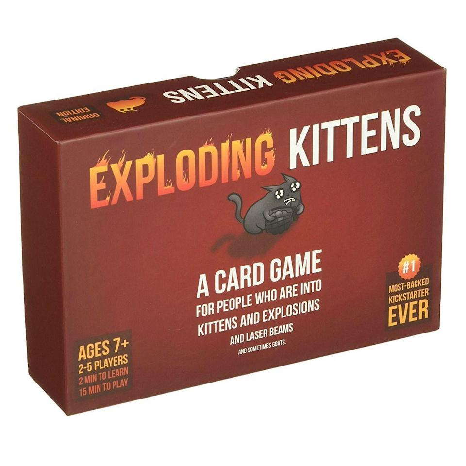 """<p><strong>Exploding Kittens</strong></p><p>amazon.com</p><p><strong>$19.82</strong></p><p><a href=""""https://www.amazon.com/dp/B010TQY7A8?tag=syn-yahoo-20&ascsubtag=%5Bartid%7C2089.g.985%5Bsrc%7Cyahoo-us"""" rel=""""nofollow noopener"""" target=""""_blank"""" data-ylk=""""slk:Shop Now"""" class=""""link rapid-noclick-resp"""">Shop Now</a></p><p>If you and your gang are both kitten-obsessed and get a soul tingle when you see an explosion in a movie, then add Exploding Kittens to your family game night. </p><p>The game is super simple to follow. Each player picks up a card, and if you are the unfortunate player to pick up an exploding kitten, then you are out. But if you have any other strategic cards, then you are still in the game. </p>"""