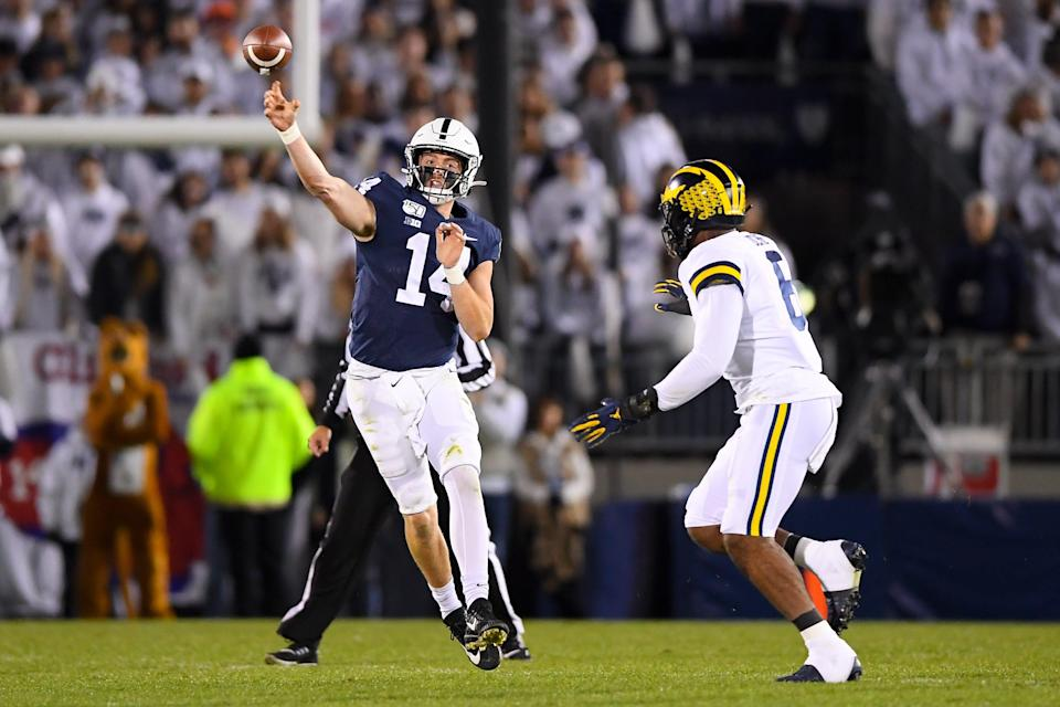Penn State quarterback Sean Clifford throws against the Michigan defense during the second quarter of the team's game in 2019 at Beaver Stadium.