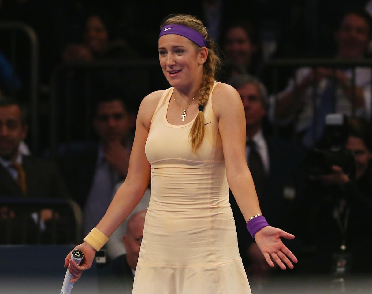 NEW YORK, NY - MARCH 04:  Victoria Azarenka of Belarus reacts to a shot by Serena Williams of the USA during the BNP Paribas Showdown on March 4, 2013 at Madison Square Garden in New York City.  (Photo by Elsa/Getty Images)